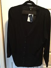 NEW Lord & Taylor Merino Wool LS Black Button V Neck Cardigan Sz 1x