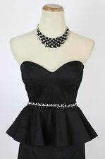 Terani Sequin Black $160 Prom Size 2 Short Gown Evening Dress Strapless Peplum