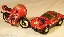 SPLENDID VINTAGE PUSH ALONG SPIDERMAN TOY CAR & MOTORBIKE BUDDY CORP JAPAN