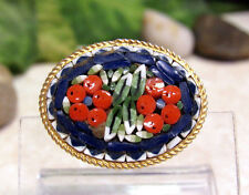 Vintage Italy Micro-Mosaic Flower Pin Brooch