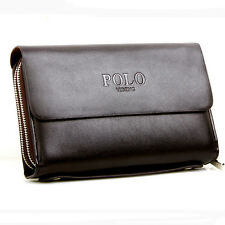 Vintage Man Handbags Leather POLO Purse For Men Fashion Day Clutch Zipper Bags