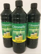 OLIO di Citronella 3 x 1ltr Premium Outdoor PEST REPELLENTE Outdoor Flare Lampada Olio