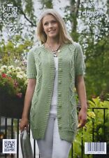 KNITTING PATTERN Ladies Short Sleeve Round Neck Long Cable Jacket DK KC 4074