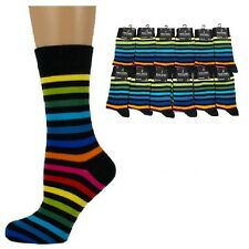 STRIPED/STRIPEY Women/Ladies Cotton-Rich Black Rainbow Socks UK 4-7 multi colour
