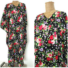 Floral Caftan Dress One Size Plus Polka Dot Kaftan Lounge Sleep Long Shiny Roses