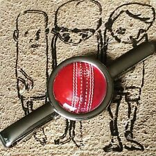 Unique! CRICKET BALL TIECLIP chrome SPORT the oval GAME mixed up dolly DESIGNER
