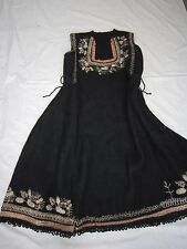 Woven Antique Dress Embroidered Silver Tinsel Folk Costume Tunic Wool Bulgarian