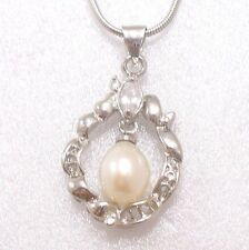 18KGB White Gold Plated Simulated Diamond White Or Black Pearl Necklace Pendant