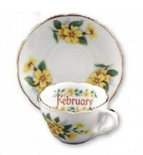 Reutter Porcelain Flower of the Month Mini Tea Cup & Saucer Gift Set FEBUARY