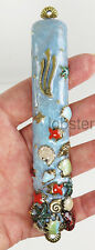 COLORFUL FISH BEACH OCEAN SHELL GOLD PLATED MEZUZAH with Prayer Scroll Quest USA
