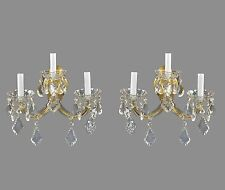 Marie Therese Crystal & Brass Wall Sconces c1950 Vintage Antique Gold French