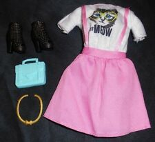 NEW Pink Meow Barbie Doll Clothes Outfit Dress Jumper Kitty Cat Shoes Boots Bag