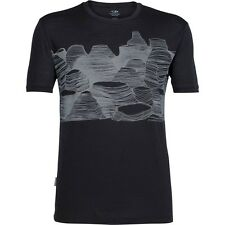 Icebreaker Tech Lite SS Crew Pancake Rocks Top (L) Black / Snow