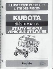 Kubota RTV-X1140 UTILITY VEHICLE Illustrated Parts Manual 97898-43320