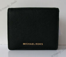 NWT Michael Kors Jet Set Travel Carryall Card Case Wallet Saffiano Leather Black
