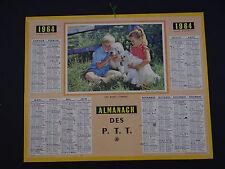 Calendrier Almanach 1964 chien dog cane PTT calendar France calendario Kalender