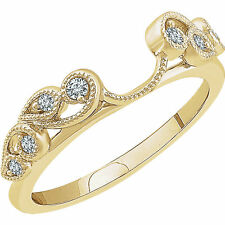 14k Yellow Gold Diamonds Vintage Solitaire Wrap Ring Guard solitaire enhancer