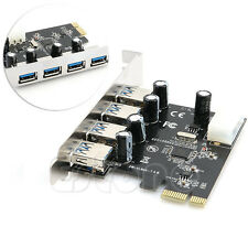 4-Port USB 3.0 To PCI-E Card Express Expansion Card Adapter VIA 5Gbps Latest