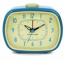 Retro Alarm Clock For Bedside Table Blue Battery Operated Vintage Style Desk