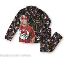 WWE John CENA Flannel Button-Down L/S Shirt Pajamas Boy's 6/7 NeW Pants Pjs Set