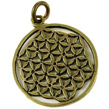 Bronze Flower Of Life Sacred Geometry Circular Pendant Necklace Charm 2.4cm