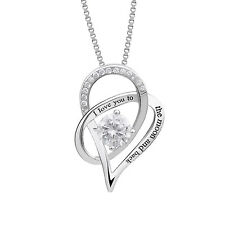 "Sterling Silver ""I Love You To The Moon and Back"" Love Heart Pendant Necklace"