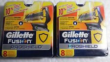 GILLETTE FUSION PROSHIELD 2 PACK OF 8 CARTRIDGES.  TOTAL 16 CARTRIDGES.