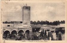 TUNISIE TUNISIA GABES 1 mosquée et marché dans l'oasis écrite 1938