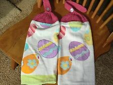 Easter - Multi Colored Easter Eggs  Knit Top Kitchen Towels