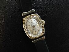 Ladies Vintage Omega De Ville Gold Plated Watch on Black Velvet Strap. Nice.