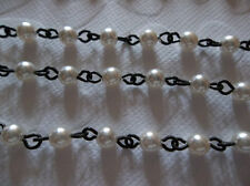 4mm White Pearl Cup Chain Glass Pearls on Jet Black Rosary Bead Chain Qty 18""
