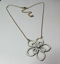 LOVELY LOOPED WHITE ENAMEL FLOWER PENDANT NECKLACE GOLD PLATED opal glass 16""