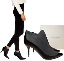 JIMMY CHOO Black Gray BRADY Ankle Boots Pointy Toe 38.5 Zippered Booties