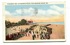 Vintage Postcard OLD ORCHARD BEACH MAINE Watching Automobile Races 1924