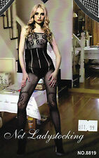 Floral Patterned Black Bodystocking Open Crotch with Corset Looks Stocking