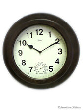 Round Bronze Indoor Outdoor Wall Patio Garden Clock Thermometer Home Decor