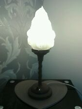 Vintage art deco style flame torch metal and glass lamp  torche glass 50s ?