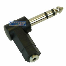 6.35mm STEREO Jack Plug to 3.5mm Female Socket Right Angle Adapter 90 Degrees