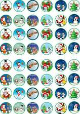 48 Xmas Christmas Edible Santa Tree Cup Cake Toppers Snowman Card Wafer