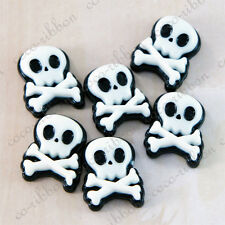 20mm 12pc Black Skull Skeleton Crossbones Flatback Resin Cabochons