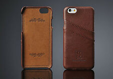 iPhone 6 Plus Coated Leather Case with card slots Walnut Brown Simons of London