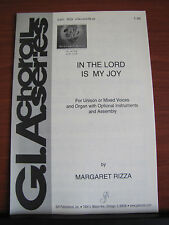 In the Lord is My Joy - Rizza - 1998 sheet music - unison or mixed vocal, organ