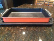 VTG Northland Aluminum Lasagna Baking Serving Dish Pan~Orange Blk~Retro Cookware
