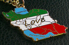 18C 18K Gold Plated Necklace Map Iran love Persian Gulf Pendant Chain Farvahar