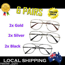 6 Pairs Australian Standard Reading Glasses Best Value Gold Silver Black 1.0~4.0
