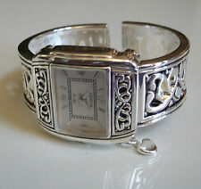 Charming Western Style Silver  Finish Hanging Charm Bangle Cuff Watch