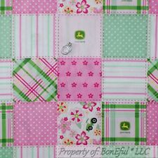 BonEful Fabric FQ Cotton Quilt Pink Green White John Deere Girl Baby Print Block