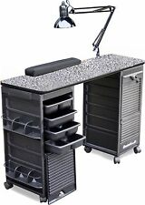 MANICURE NAIL TABLE K606 P.GRANITE LAM.TOP DOUBLE LOCKABLE CARTS  *SPECIAL SALE*
