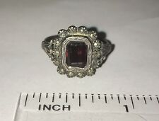 Antique Victorian Sterling Silver Garnet Marcasite Ring