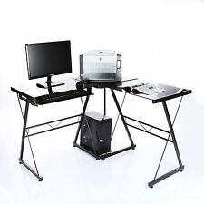 VECELO L-Shaped Workstation Table  Office Corner Computer Desk with Pull-Out Key